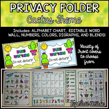 Privacy Folder {Includes EDITABLE WORD WALL and Alphabet Chart} Cactus Theme
