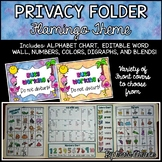 Privacy Folder {Includes EDITABLE WORD WALL and Alphabet Chart} Flamingos Theme