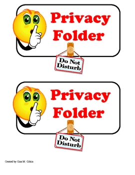 Privacy Folder Label for Testing or Independent Work