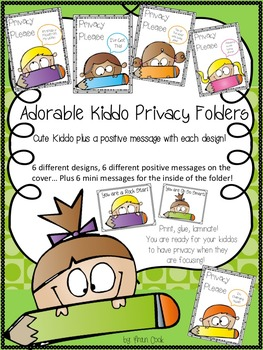 "Privacy Folders-Classroom Management -Student Motivation -""Privacy Please"""