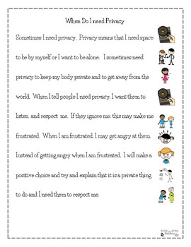 Privacy Social Stories For Students With Autism