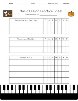 Private Lesson Practice Sheet (Fall Themed)