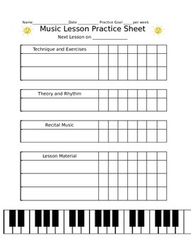 Private Lesson Practice Sheet (Summer Themed)