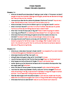 Private Peaceful- Chapter Discussion Questions