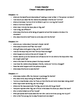 Private Peaceful Chapter Discussion Questions