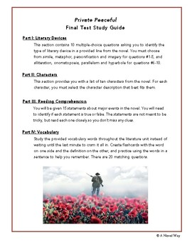 private peaceful final test by a novel way teachers pay teachers rh teacherspayteachers com Private Peaceful Molly private peaceful study guide free