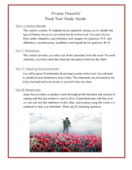 Private Peaceful- Final Test Study Guide