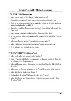 Private Peaceful by Michael Morpurgo - Guided Reading Questions with Answers