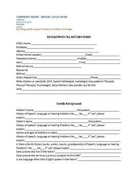 Speech Therapy-Private Practice Case History Form and other new client paperwork