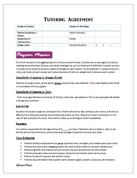 Tutoring Contract and Student Progress Packet by Brain ...