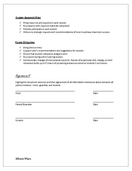 Tutoring Contract and Student Progress Packet