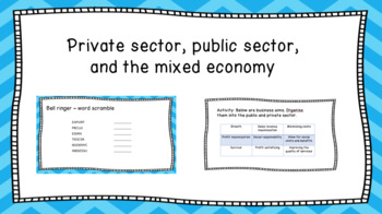 Private sector, public sector, and the mixed economy