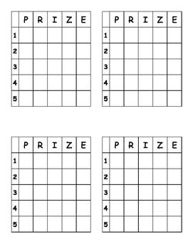 Prize Cards