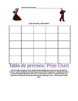 Prize Chart for Spanish Class