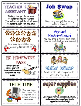 Prize Privileges (Student Rewards that DO NOT COST MONEY!)