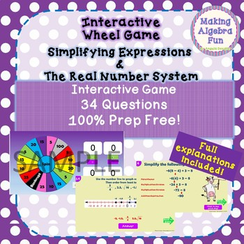 Prize Wheel Carnival Game Algebra Expressions & the Real Number System
