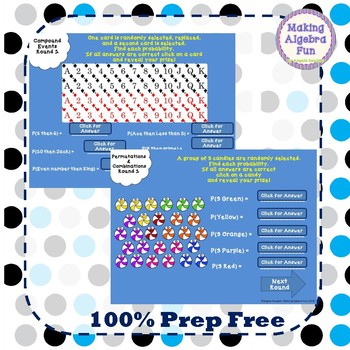 Probability Game simple compound events permutations combinations