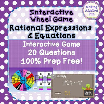 Prize Wheel Carnival Game Algebra Rational Expressions & Equations