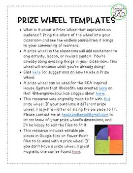 Prize Wheel Editable Templates