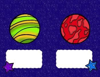 Étiquettes pour casier - Locker tag - Thème de l'espace - Space themed