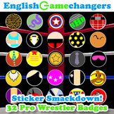 Pro Wrestling Badges: 24 Custom Badges of Your Favorite Heroes and Bad Guys!