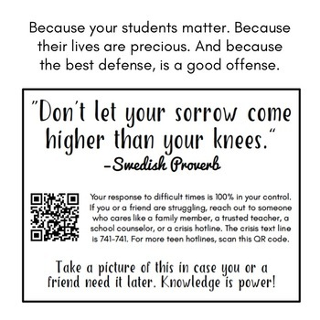 FREE Suicide Hotline Poster Suicide Prevention (Back to School)