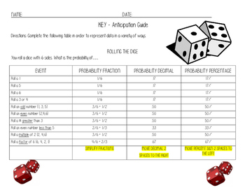 Probabilidad and Probability English and Spanish Dice Activity