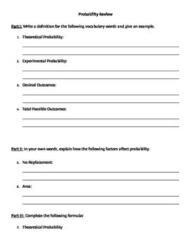 Probability 11 - Probability Unit Review