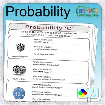 Probability (7 distance learning worksheets for Numeracy)