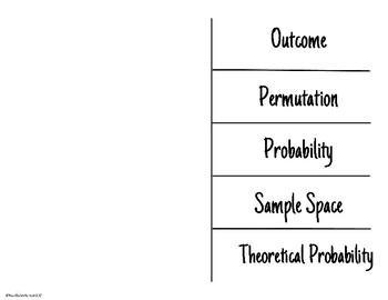 Probability Academic Vocabulary Foldable