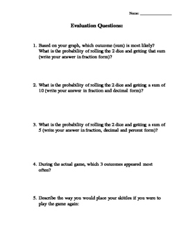 Probability Activity and Worksheets