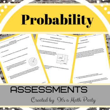 Probability - Assessments (Quiz, Study Guide & Test)