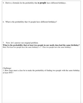 Probability-Birthday Problem Activity (Pre-calculus)