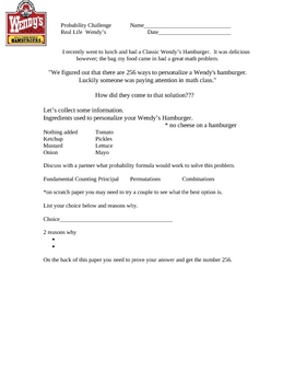 Probability Combinations Extension (for gifted and talented students)