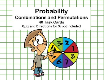 Probability -Combinations and Permutations -40 Task Cards-Grade 7-8