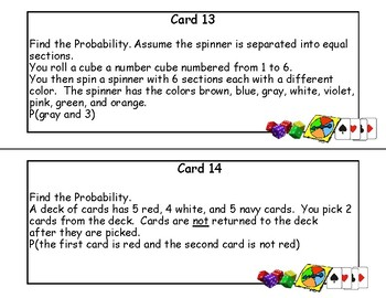 Probability-Compound Events-24 Task Cards-Grades 7-9
