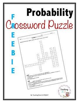 Probability Crossword Puzzle FREEBIE