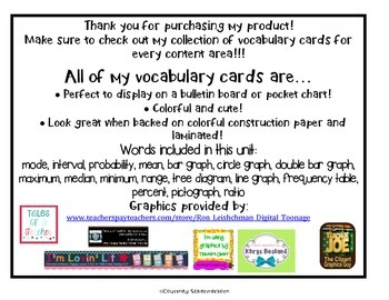 Vocabulary Cards-Probability, Graphing, Mean/Median/Mode/Range, & more!