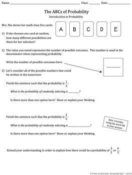 Probability Discovery Worksheets
