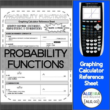 Probability: Factorials, Permutations, and Combinations (Graphing  Calculator)