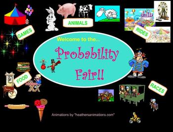 Probability:  Fair-themed interactive Smartboard daily tic