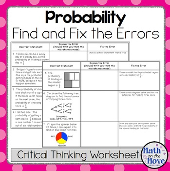 Probability - Find and Fix the Errors Worksheet (7.SP.5 and 7.SP.6)