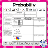 Probability - Find and Fix the Errors Worksheet (7.SP.5 an