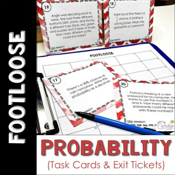 Probability Task Cards - Footloose Activity (and exit tickets)