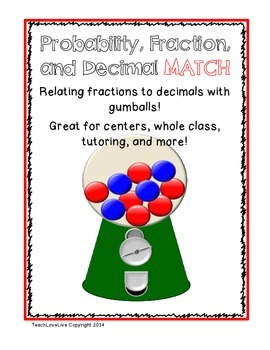 Probability, Fractions, Decimals Match