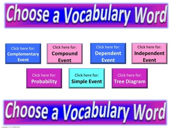 Probability Frayer Model Vocabulary (Vocabulary they will LIKE and USE)