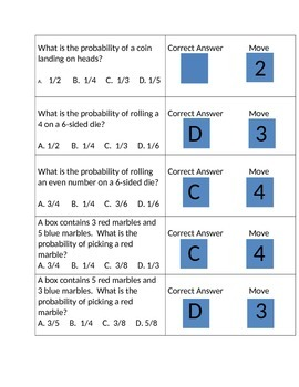 Probability Game Cards