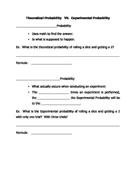 Interactive Notebook Probability Guided Notes:  Theoretical vs Experimental