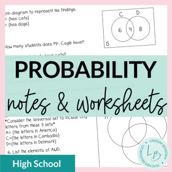 Probability Guided Notes and Worksheets