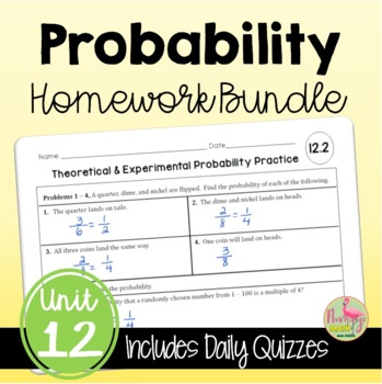 Algebra 2 Probability HOMEWORK Bundle